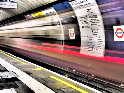 The Tube London Underground light trails Rona Black photograph